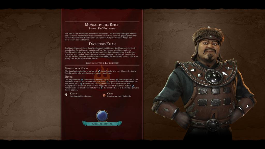 Dschingis Khan, Anführer der Mongolen in Civilization 6