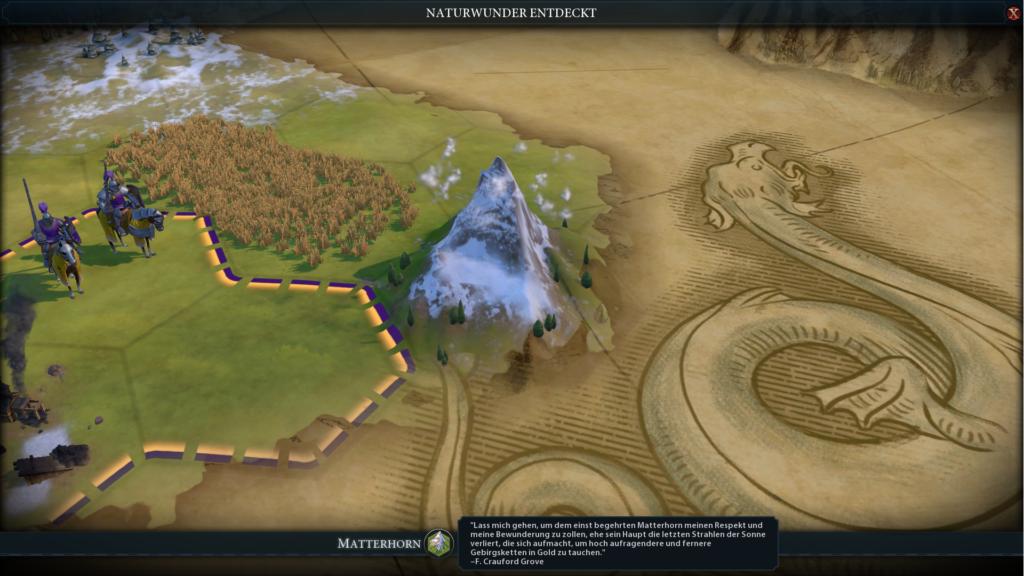 Die Entdeckung des Matterhorn auf der Civ 6 Karte